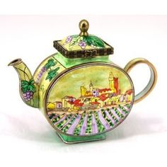 Kelvin Chen Enameled Miniature Tea Pot -Vineyard Design  Wizard of Oz would have loved this one.
