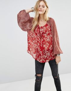 Free People Blouse with Mix Floral