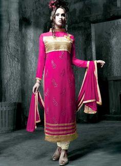 Orphic Magenta Heavy Georgette Zari And Sequins  Work Pakistani Suit http://www.angelnx.com/Salwar-Kameez/Pakistani-Suits