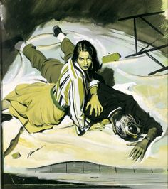 "PERRY PETERSON Original illustration for the Saturday Evening Post story ""Royal Bed for a Corpse"", October 1954."