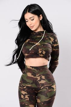 Available In Camo Cropped Camo Print Hoodie Matching Set Want You To Myself Shorts 97% Polyester 3% Spandex