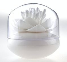 Bathroom Organization: Bloss Cotton Swab Organizer Lotus Shape Cotton Swab Holder Small Q-tips Toothpicks Storage Organizer, White * Continue to the product at the image link.