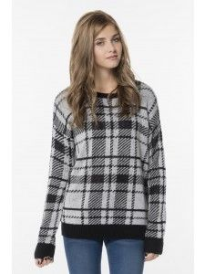 Grey & black plaid fuzzy knit sweater. #ArdeneWishList
