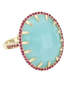 Phillips Frankel 14k gold amazonite and ruby ring.