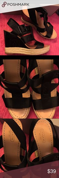 Ladies black leather platform sandals in a sz 8.5 Super cute and very stylish Coach platform sandals in a size 8.5 B. Done in a nice black leather upper and complete with roap wedges. Great for any occasion. Smoke free home. Thanks for the interest and God Bless Coach Shoes Platforms