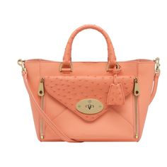 f5365f4d212 Mulberry Small Willow Tote in Bright Apricot 50s Glamour, Branded Bags, Big  Bags,