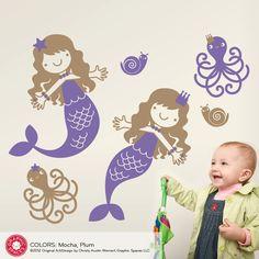 Nursery Mermaid Wall Decals & Ocean Friends Twin Pack (Set of 2). $50.00, via Etsy.