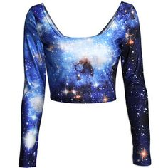 Blue Long Sleeves Ladies Galaxy Fancy Crew Neck Crop Top Informations About Blue Long Sleeves Ladies Fancy Crop Top, Fancy Tops, Blue Crop Tops, Dressy Tops, Dinosaur Dress, Galaxy Outfit, Crop Tops Online, Blue Long Sleeve Shirt, Crop Shirt