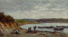 """""""Brest, fishing boats of Kerhor"""" - Eugene Boudin"""