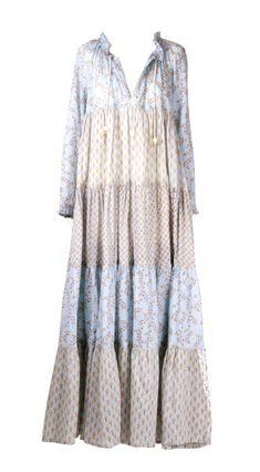 Yvonne Sporre Light cotton summer maxi dress Hand-made prints by Yvonne Sporre Dresser, Kimono Top, Blue, Tops, Women, Fashion, Moda, Powder Room, Women's