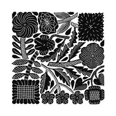 Botanical Illustration, Illustration Art, Flower Silhouette, Monochrome Pattern, Sgraffito, Japanese Prints, Mural Painting, Patterns In Nature, Linocut Prints