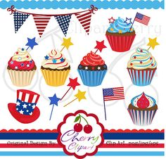 4th of July Cupcakes digital clipart set for-Personal and Commercial Use-Card Design, Scrapbooking, and Web Design