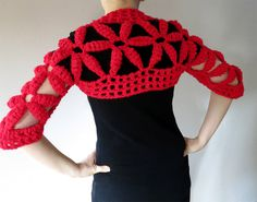 Lovely Flowers Red Color Crocheted Shoulder by KnitsomeStudio, $59.00