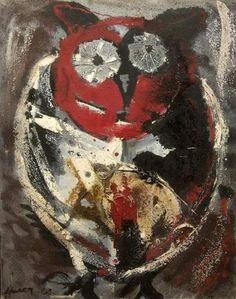 Emile Hecq (1924-2008), Hibou, 1962, Technique mixte sur toile, 92 x 73 cm