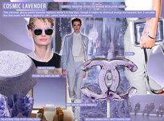 S/S 2016 Women's Key Color:COSMIC LAVENDER Powdery lavender is upgraded with a mirrored finish, lending apparel a chemical, subtly futuristic feel. Tailored suiting feels ultra-feminine at MM6, as loose-fit T-dresses take on a newfound elegance at Alexander Wang. Elsewhere, Versace's embossed leather ensemble exudes a modern luxe for evening.