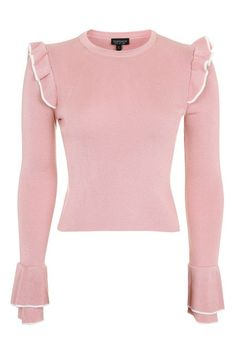 Tipped Frill Crop Knitted Top