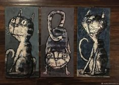 Миниатюрные котики – купить на Ярмарке Мастеров – HAT0NRU   Картины, Архангельск Cat Art, Cats, Painting, Gatos, Painting Art, Paintings, Cat, Kitty, Painted Canvas