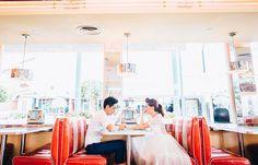 Universal Studios Singapore Retro Pre Wedding photoshoot in Mel's Diner