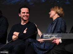 Andrew Scott and Sian Brooke during Q&A for TFP preview screening of 'Sherlock'