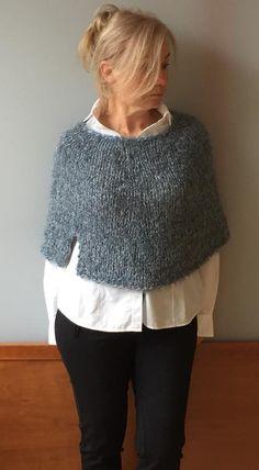 Knit Capelet Poncho Women Knit Mohair Wrap Capelet Hand knit wool cape Knit grey wool capelet Mohair capelet