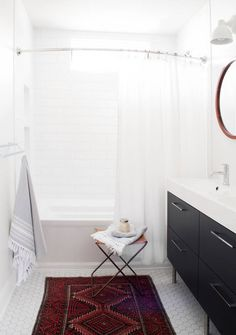 See more images from swap wood paneling for white tile: one tiny bathroom's MAJOR makeover on domino.com
