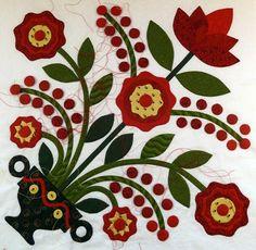 Come Quilt (Sue Garman) Free Applique Patterns, Hand Applique, Applique Quilts, Sewing Appliques, Flower Applique, Embroidery Applique, Art Fil, Painted Barn Quilts, Christmas Applique