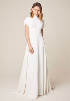 Jesus Peiro 946 - comfortable modern wedding dress with high neck, loose flutter sleeves, wide waistband, elegant open back. From Miss Bush bridal, Surrey. Western Wedding Dresses, Wedding Dress Trends, Bridal Dresses, Wedding Blog, Crepe Wedding Dress, Classic Wedding Dress, Minimalist Wedding Dresses, Dress Vestidos, Elegant Dresses