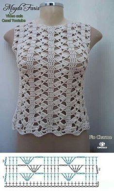 10 crochet blouse designs with stitch chart ⋆ Facing The Sea - 10 crochet blouse models + stitch chart - Crochet Vest Pattern, Crochet Shirt, Crochet Diagram, Crochet Cardigan, Crochet Motif, Crochet Designs, Crochet Lace, Crochet Stitches, Crochet Patterns