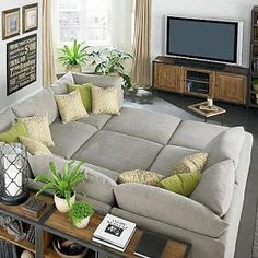 u couch shaped with 3 ottomans. My Living Room, Home And Living, Living Spaces, Small Living, Living Area, U Shaped Couch Living Room, 3 Piece Living Room Set, U Couch, Cuddle Couch