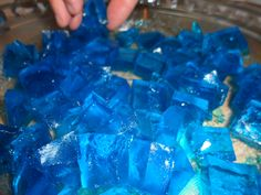 Max Hamel 2nd BDay Party - Jello Jigglers - my first time trying these.  They were surprisingly good and I thought they turned out cute for the Pingu theme as ice/water.