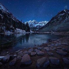 Incredible early morning shot of Maroon Bells by @paulkestelphoto. #maroonbells #aspen #snowmass