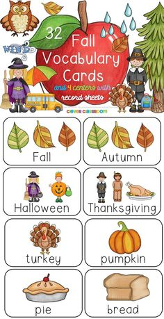 Fall Vocabulary Cards and 4 Reading Centers with Record Sheets Your Fall vocabulary and reading centers are reading to go. $