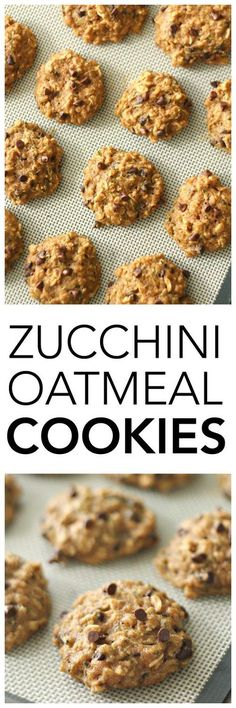 Zucchini Oatmeal Cookies on SixSistersStuff.com   Made with whole wheat flour and no refined sugar these cookies taste so amazing your kids won't even know they're healthy!   Healthy 4th of July Snacks   Cookie Recipes   Kid Approved   Dessert Idea