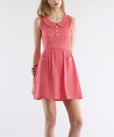GRACIA Coral Eyelet Fit & Flare Dress by GRACIA #zulily #zulilyfinds