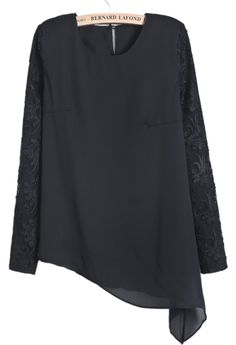 Black Long Sleeve Embroidered Asymmetrical Chiffon Blouse