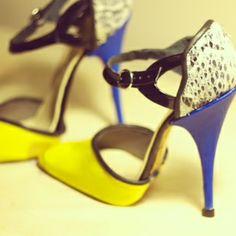 Ambrosia Sullivan shoes SS 2014 #custom design and handmade, shoemaking. Leather, snake print, Neon Yellow.