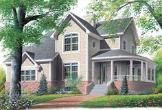 Country Style House Plans - 2099 Square Foot Home , 2 Story, 4 Bedroom and 2 Bath, 2 Garage Stalls by Monster House Plans - Plan 5-433
