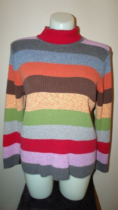 Lane Bryant Size 18/20 Multi-Color Striped Long Sleeve Sweater EUC #LaneBryant #Sweater