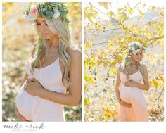 Mike Arick - Orange County Maternity Photographer - flower crown / floral crown by Lavenders Flowers  Dress by Woodleigh Clothing