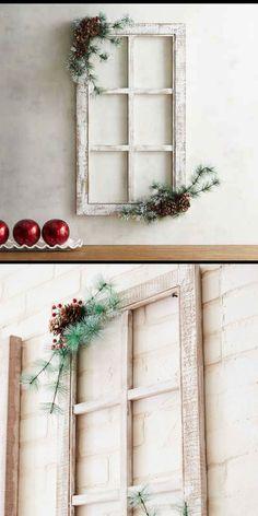 Christmas Window Frame Decor #christmas #farmhouse #ad