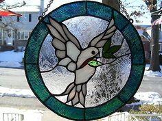 stained glass peace doves | Stained+Glass+PEACE+DOVE+Suncatcher+(+Real+Hand+Made+Glass+)