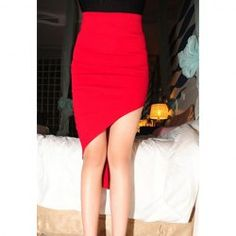 $6.91 Korea Fashionable Style Solid Color High Elasticity Cotton Blend Skirt For Women