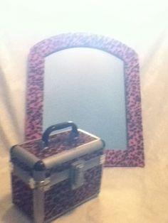 SET Pink Black Leopard Fur  Mirror Travel Train Makeup Cosmetic Art Jewel Case  #Unbranded