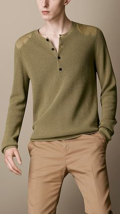 Burberry Brit Suede Panel Henley Sweater