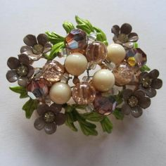 Gorgeous Selini Signed Floral Enamel Crystal Brooch Selro Co.