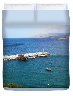 Boats Duvet Cover featuring the photograph The Boats And The Harbour by Helga Preiman #HelgaPreiman #DuvetCovers #TheBoatsAndTheHarbour #ArtForHome #FineArtPrints