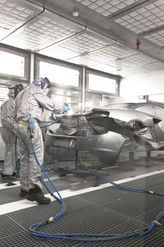 an inside look at McLaren automotive's production centre in woking, UK Car Workshop, Automotive Photography, Car Painting, Fast Cars, Super Cars, Classic Cars, Centre, Auto Paint, Work Stations