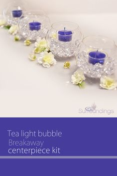 Tea light bubble breakaway centerpiece is versatile so you can place it on rectangular tables or group them together for round tables. You can also separate pieces for smaller cocktail tables. Wedding Table Centres, Wedding Reception Flowers, Diy Centerpieces, Wedding Reception Decorations, Diy Wedding, Table Wedding, Cherry Blossom Centerpiece, Color Lila, Round Tables