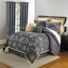 Bedroom, : Grey Bedroom Themed Complete With Cozy Bed Plus Grey Bed Cover And Pillows Also Dark Brown Wooden Table In The Side Of Bed With White Table Lamp Combine With Nice Grey Curtain Plus White Rectangular Rug On The Brwon Laminated Flooring