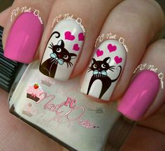 Pin on nail art Pin on nail art Cat Nail Art, Animal Nail Art, Cat Nails, Cat Nail Designs, Nail Polish Designs, Nail Polish Colors, Nails Design, Love Nails, Pretty Nails